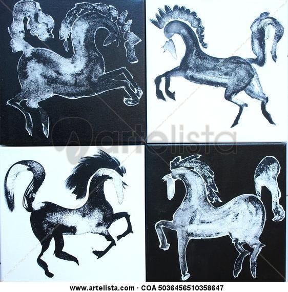 CAPUCHINOS HORSES Animales Tinta Lienzo