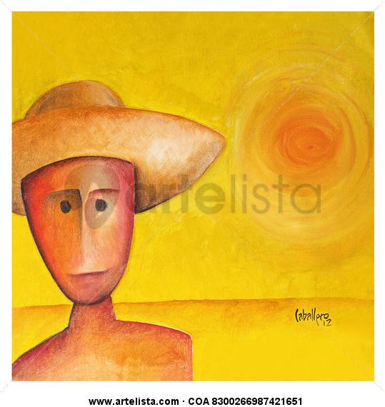 sol Figura Lienzo Acrílico