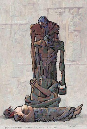 Mesopotamia Gouache Papel Figura