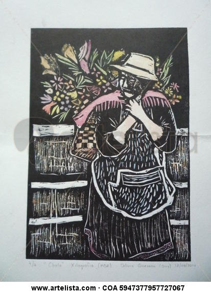 vendedora de flores Xilografía