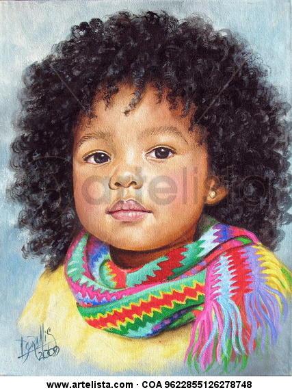 Niña de Raza Negra 9 Lienzo Acrílico Retrato
