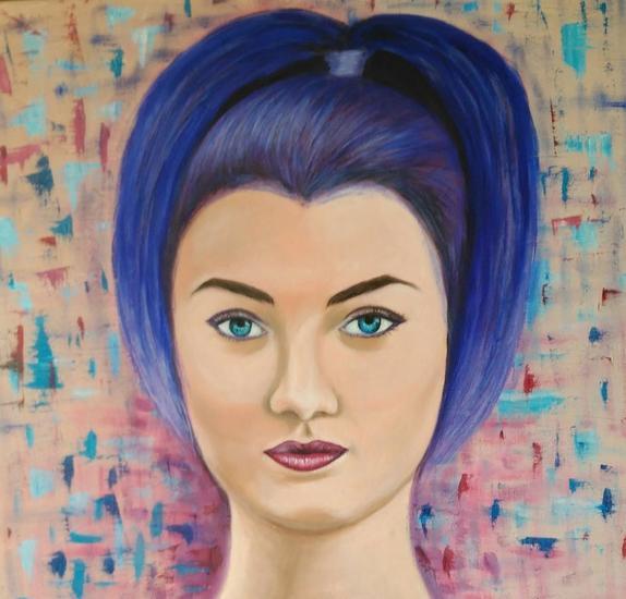 Serena en azul Retrato Óleo Lienzo