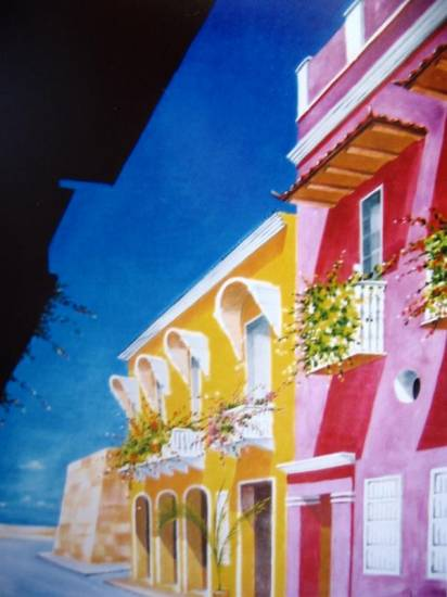 Balcones de Cartagena Lienzo Óleo Paisaje