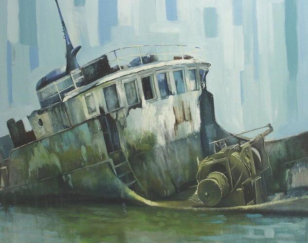 barco para  desguace Lienzo Óleo Marina