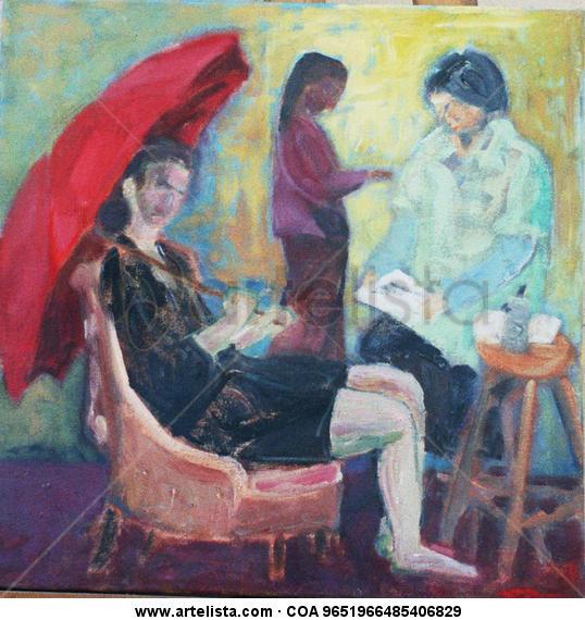 3 dones al taller Canvas Oil Figure Painting