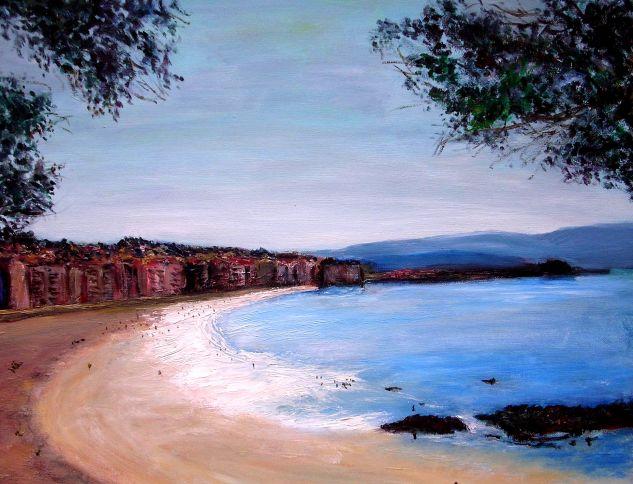 Playa de Silgar, Sanxenxo. Lienzo Óleo Paisaje