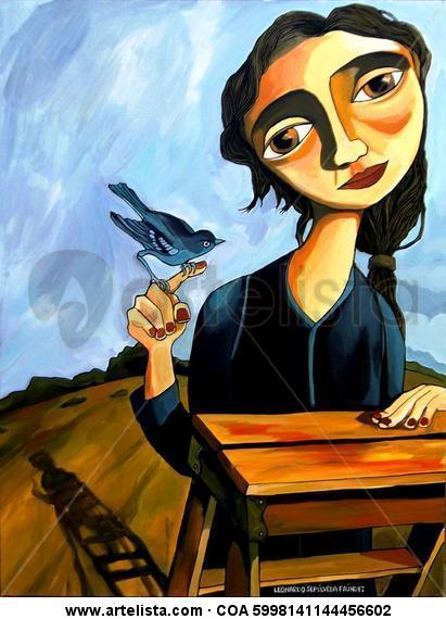 Más vale pájaro en mano ... Acrílico Figura Tela