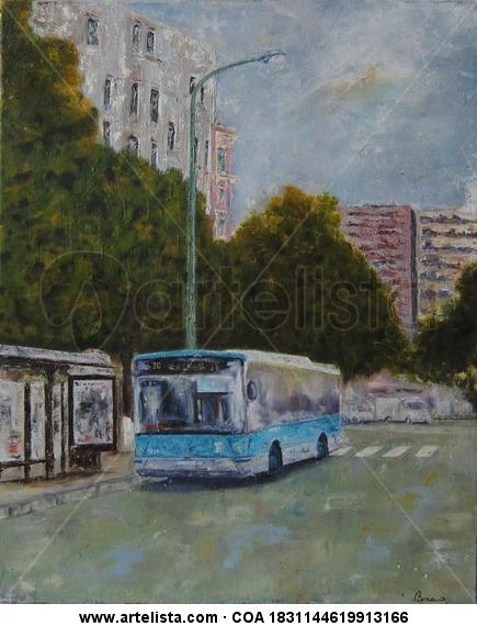 Autobús en Madrid Canvas Oil Landscaping