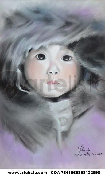 retrato a pastel pequeña esquimal Paper Pastel Portrait