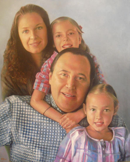 Retrato de familia mexicana. Canvas Oil Portrait