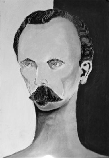 Jose Marti en blanco y negro Pastel Card Portrait
