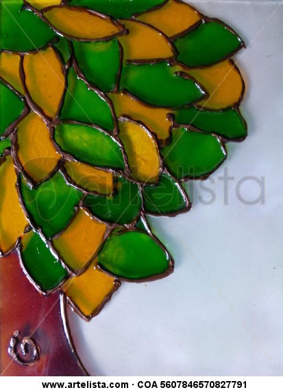 Árbol bi-color Cristal De vidriera Paisaje