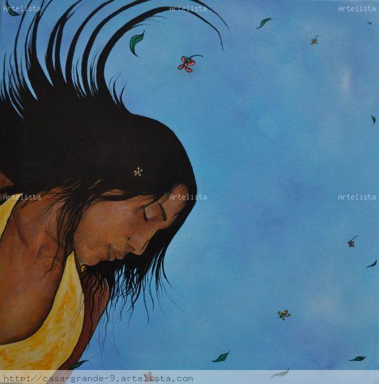 Caribeña en granada Óleo Lienzo Retrato