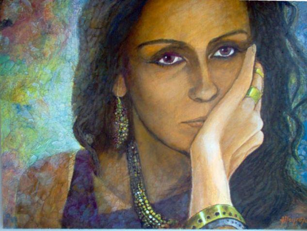 PENSAMIENTOS (2003) Acrílico Tabla Retrato