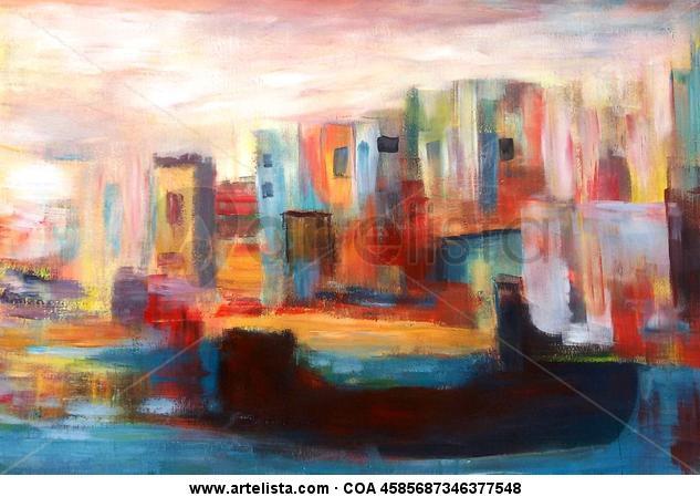 Ciudad con rio Panel Acrylic Others