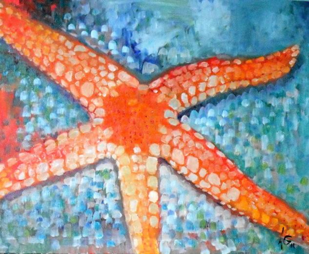 Estrella de mar. Lienzo Óleo Animales