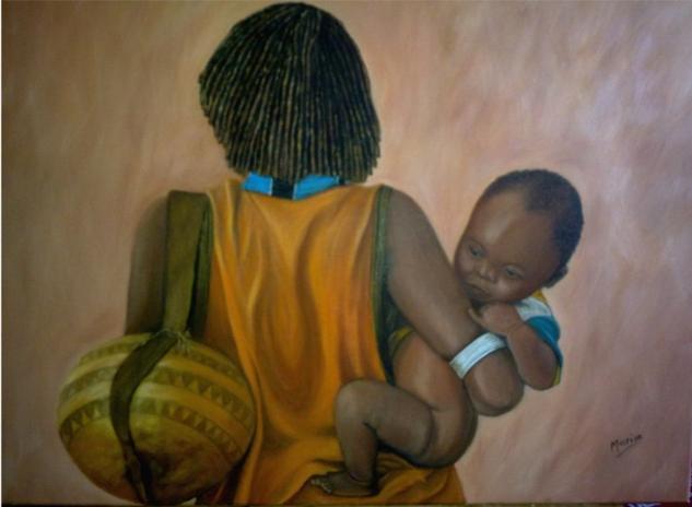 MATERNIDAD EN AFRICA Lienzo Figura Óleo