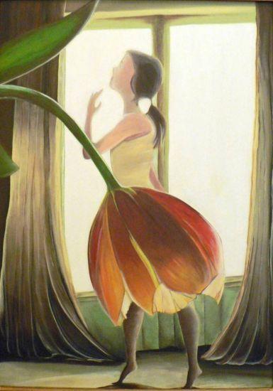 la bailarina y el resplandor Tabla Media Mixta Floral