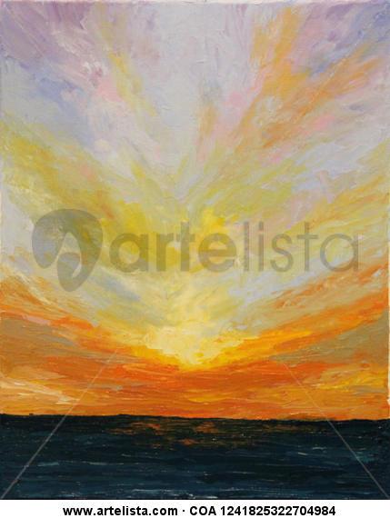 Sunset Lienzo Óleo Marina