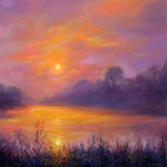 A Magical Sunset Panel Oil Landscaping