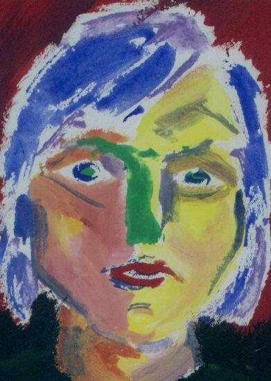 Mujer con pelo azul Retrato Papel Gouache