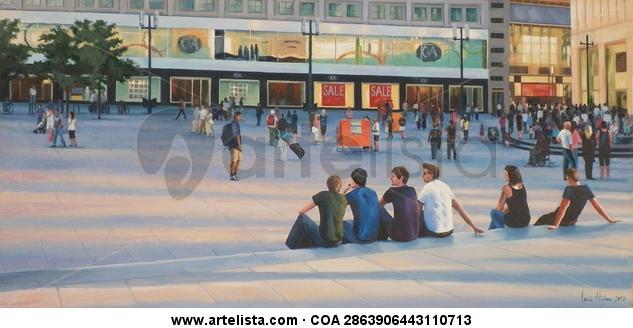 Encuentros en Alexander Platz Textile Oil Landscaping