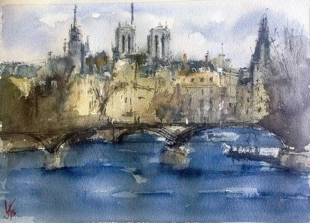 Río Sena, Paris Papel Acuarela Paisaje