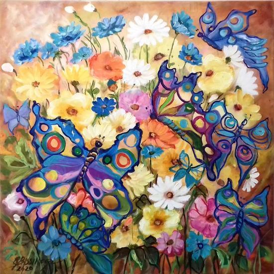 Butterflies on summer vacation ,abstact Bissinger Paisaje Óleo Lienzo
