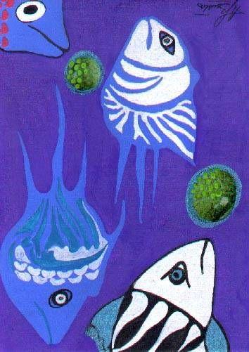 Peces en azul Acrílico Cartulina Marina