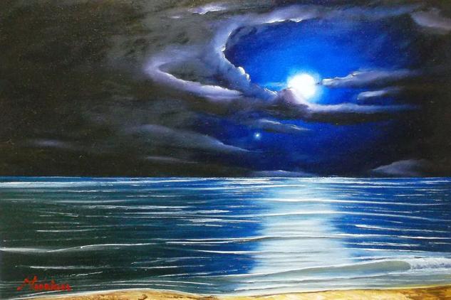 Noche Azul Tela Óleo Marina