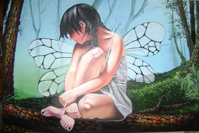 Hada del bosque Figura Lienzo Acrílico