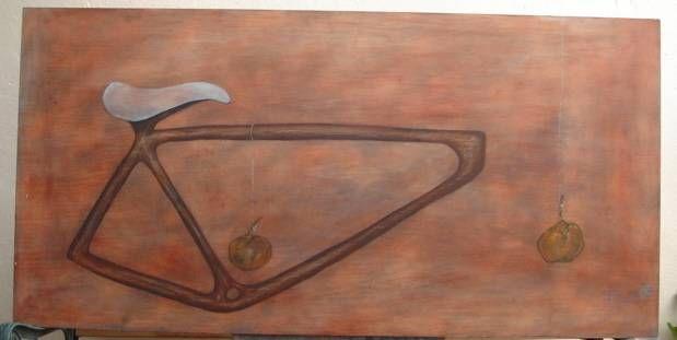mandarinas suspendidas por hilos sobre una bicicleta Media Mixta Lienzo Otros