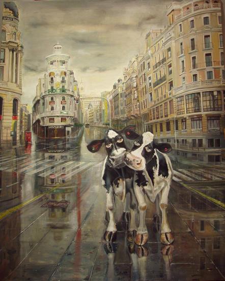 Par de vacas Gran Via de Madrid Lienzo Óleo Figura