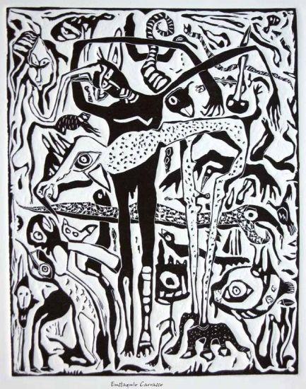 Personaje rodeado de animales, (Character surrounded by animals) Linograbado