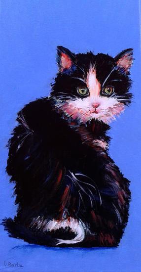 Gato negro Acrílico Animales Lienzo