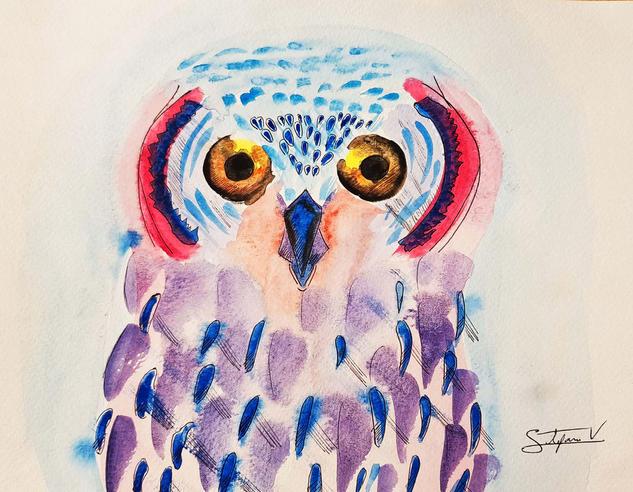 ojos de noche Cartulina Acuarela Animales