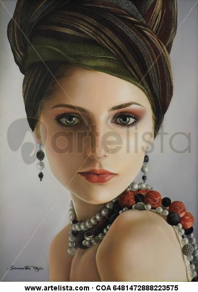 Perlas y Turbante Lienzo Óleo Retrato