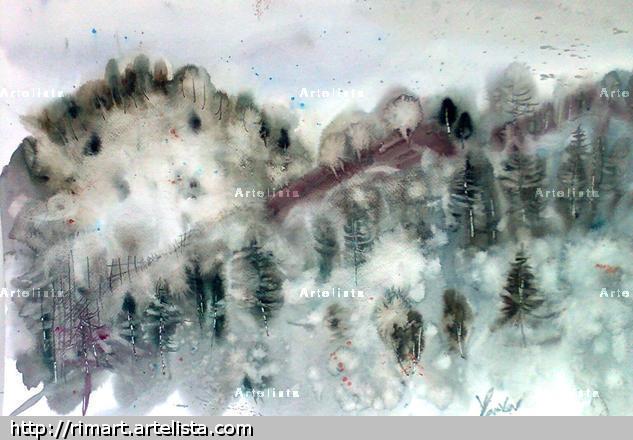 winter wonderland Papel Acuarela Paisaje