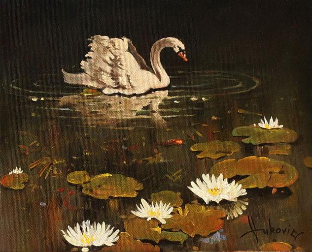 lonely swan Lienzo Óleo Animales