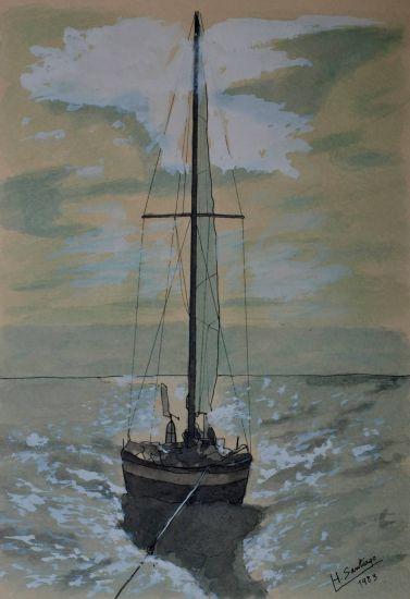 barca en el atardecer