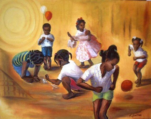 Niños jugando Lienzo Óleo Deportes