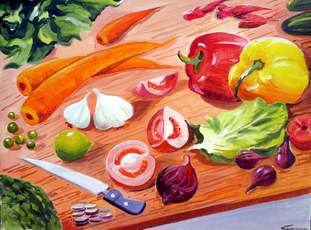 Vegetables Composition Acrylic Still Life Paintings Canvas