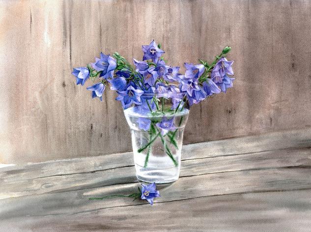 Bouquet of bellflowers Papel Acuarela Floral