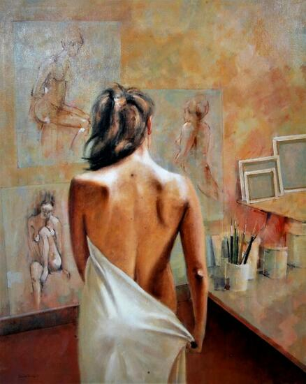 Modelo 004 2021 Figure Painting Oil Canvas