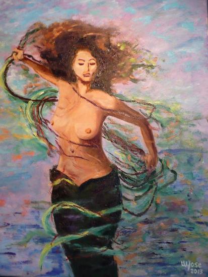 Sirena Lienzo Óleo Figura