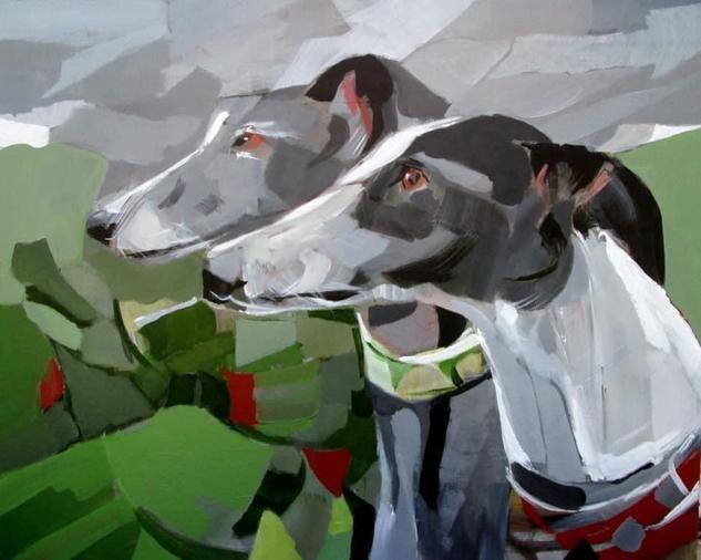 Los galgos de Erika Animals Acrylic Canvas