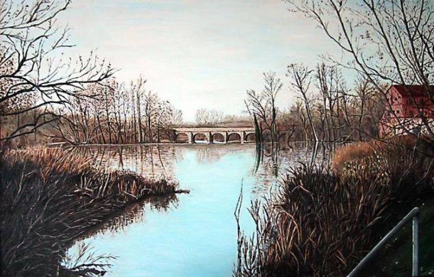 Puente antiguo del Río Tormes Óleo Tabla Paisaje