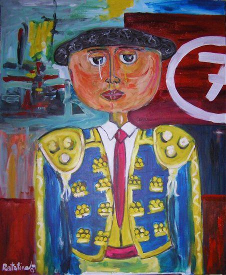 matador Figura Lienzo Óleo
