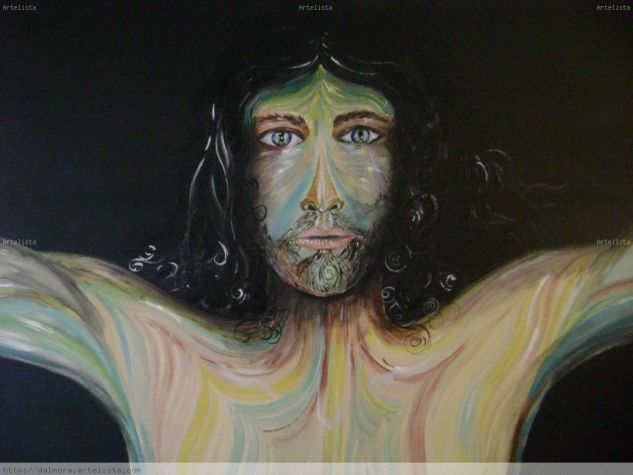 Los ojos de jesùs Figura Lienzo Acrílico