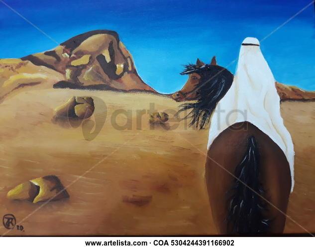 Árabe a caballo Paisaje Óleo Lienzo
